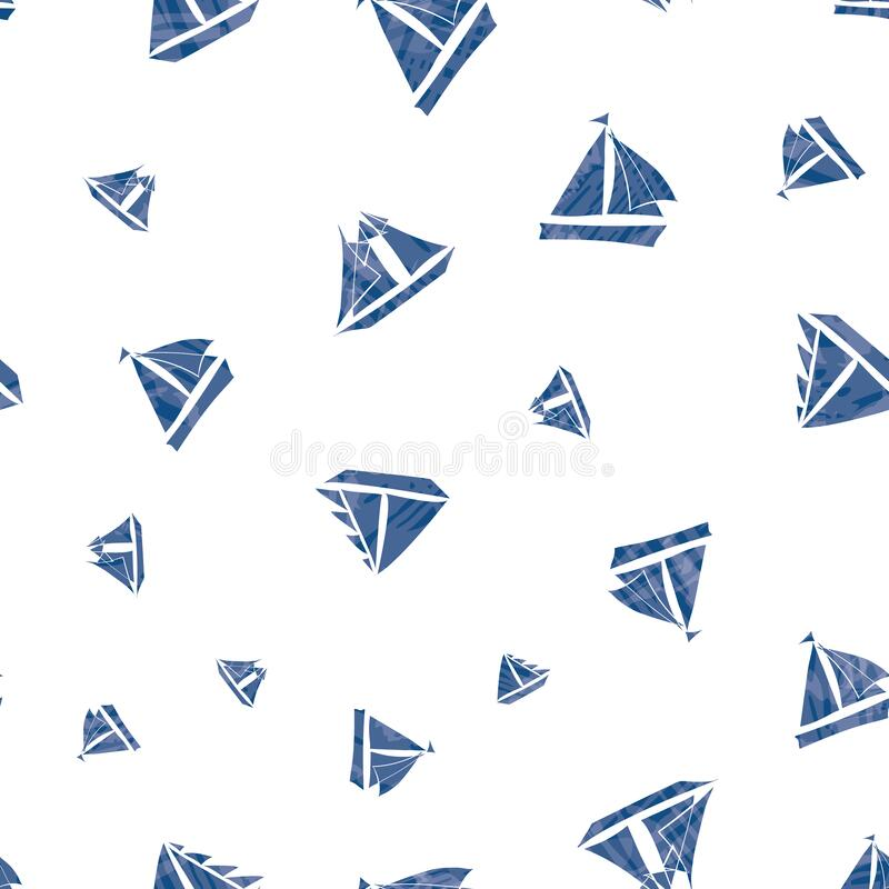 Free Three Types Of Vector Hand-drawn Navy Blue Sailing Boats With Watercolor Texture Marine Themed Design. Seamless Pattern Royalty Free Stock Image - 169273546