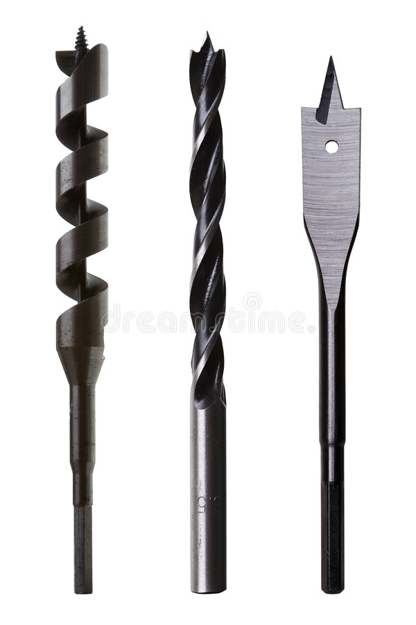 Free Three Types Of Wood Drill Bits Royalty Free Stock Photo - 7340385