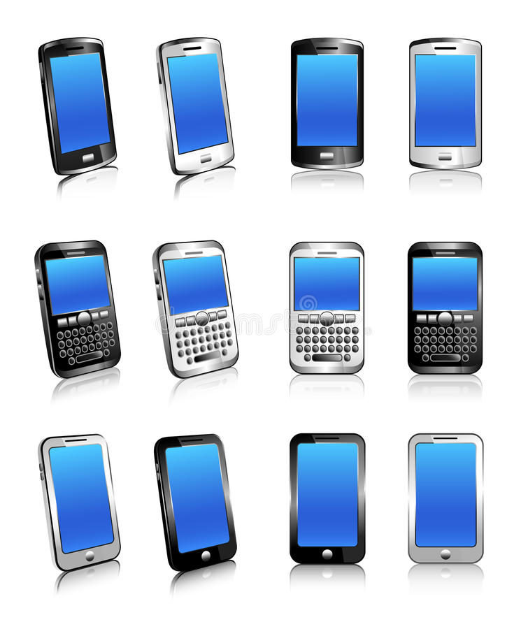 Download Three Types Of Phones In Two And Three Dimensions Stock Vector - Illustration of smart, touchscreen: 23364335
