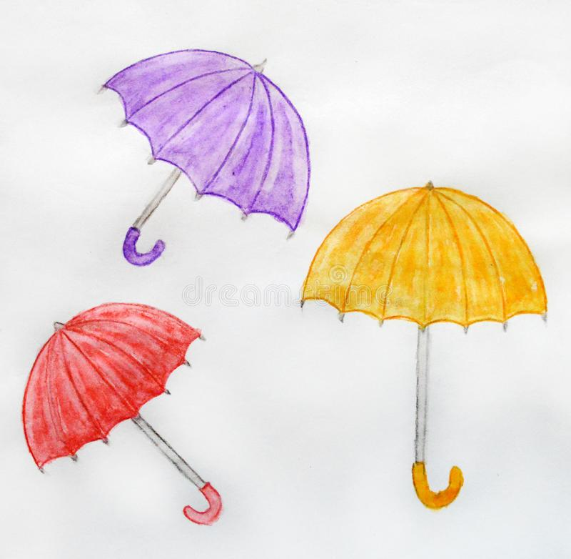 Three umbrellas drawn by watercolor pencils, on a white isolated background. Lilac umbrella, yellow orange umbrella, red umbrella, umbrella - cane, shelter royalty free illustration
