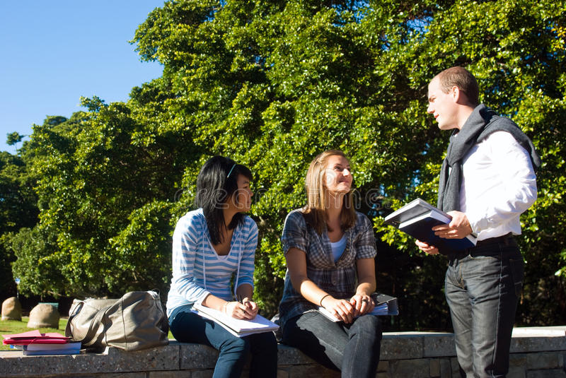 Three university students. Three students talking on a small wall in a university park on a beautiful sunny day royalty free stock images