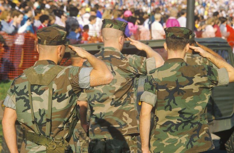 Three US Marines Saluting. Three United States Marines Saluting, Washington, D.C stock photography