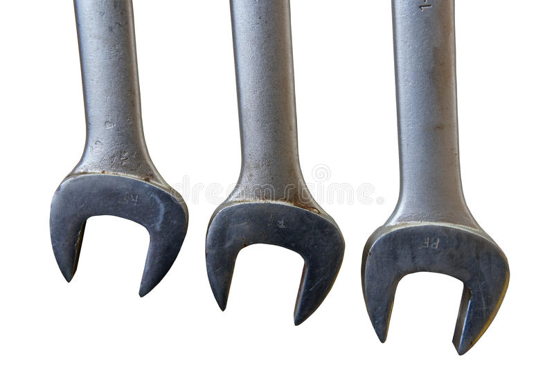 Three Used Wrench Isolated Stock Photography