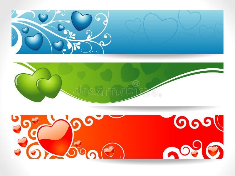 Three Valentine Heart Banner Stock Photography