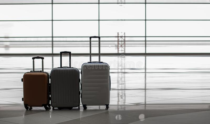 Three valises are at terminal hall royalty free stock photos