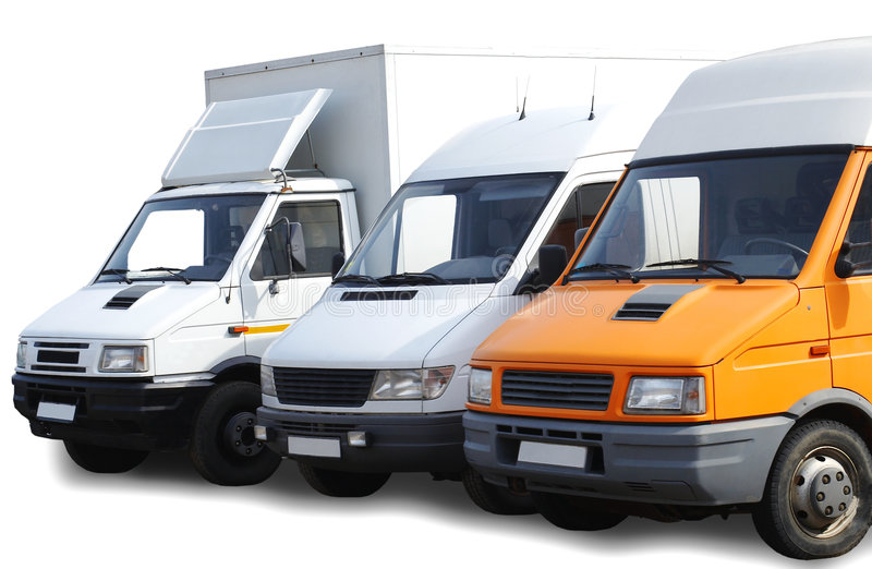 Three vans. Three white and orange vans. isolated