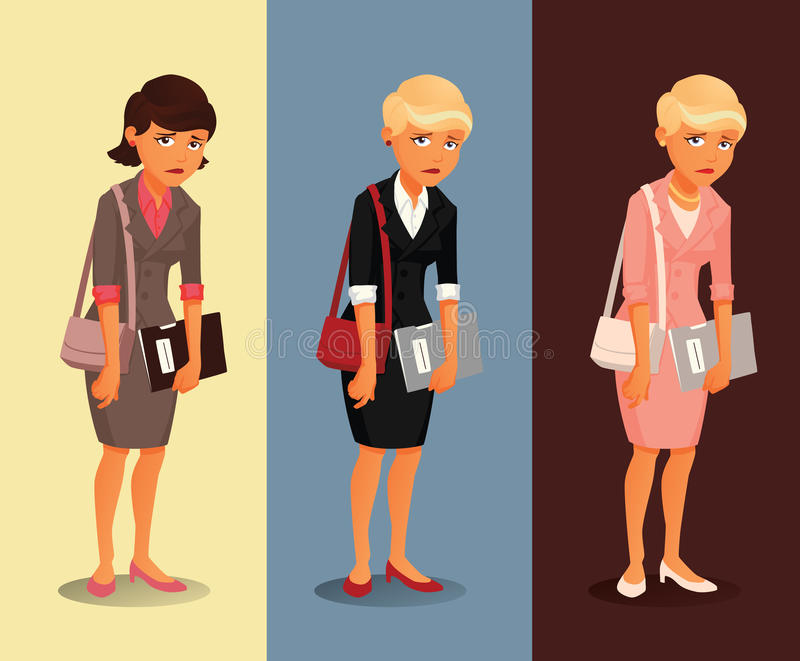 Three variants of a sad businesswoman with different hairdos and clothing colors stock photos