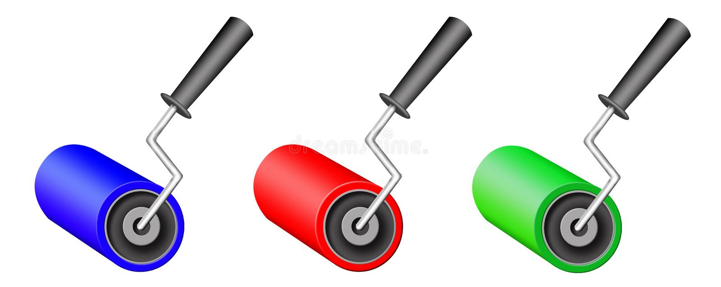 Download Three varicoloured rollers stock illustration. Illustration of white - 12041767