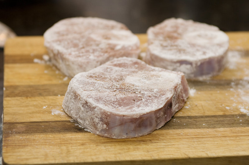 Three Veal Shanks In Flour Stock Images