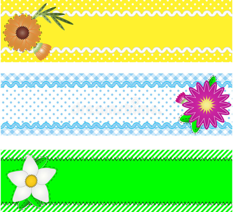 Free Three Vector Borders With Flowers And Copy Space Stock Photography - 13801232