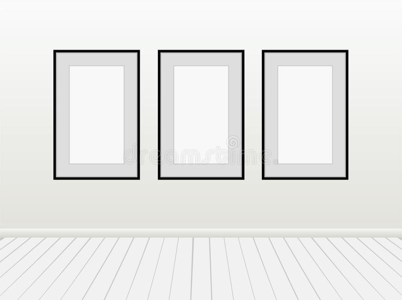 Three Vector Empty Blank White Mock Up Posters Pictures Black Frames on a Wall. vector illustration