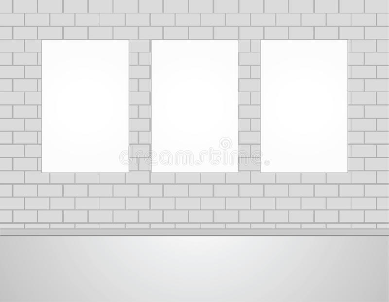 Three Vector Empty Blank White Mock Up Posters Pictures on a Wall. royalty free illustration