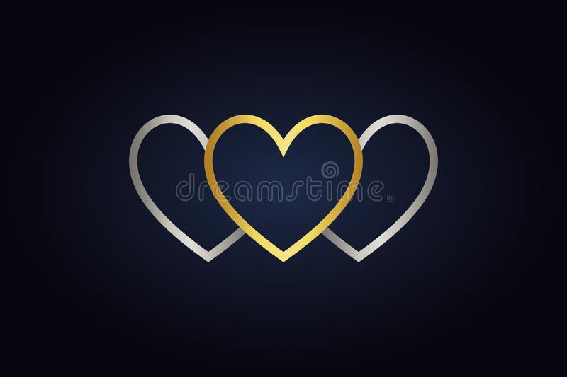 Two silver part of hearts and one golden heart vector illustration