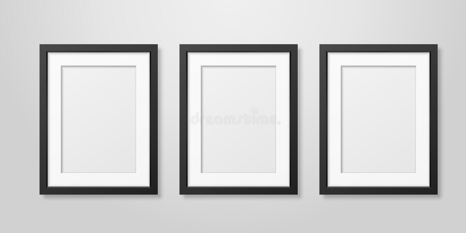 Three Vector Realistic Mofern Interior Black Blank Vertical A4 Wooden Poster Picture Frame Set Closeup on White Wall vector illustration