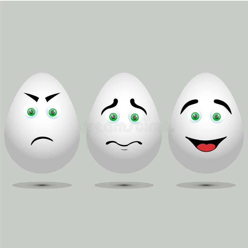 Three vector realistic white eggs. vector illustration