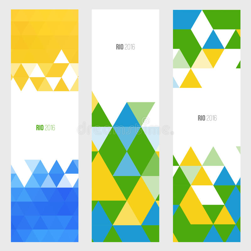 Three vertical banner in brazil flag color style. stock photography