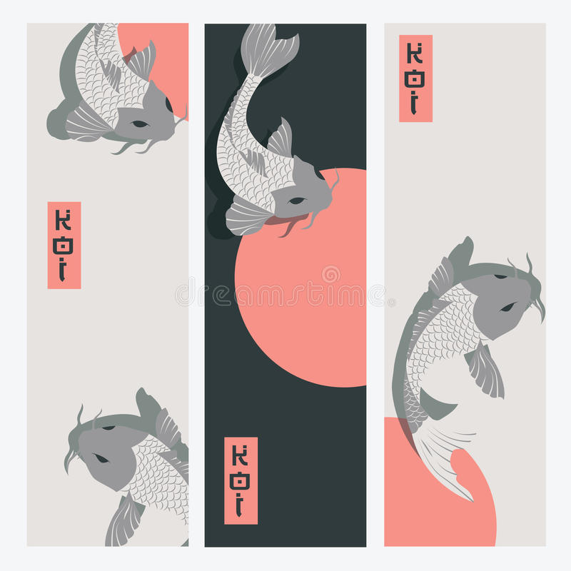 Three vertical banners with carp koi fish swimming around Sun. Traditional Japanese style, vector illustration stock illustration