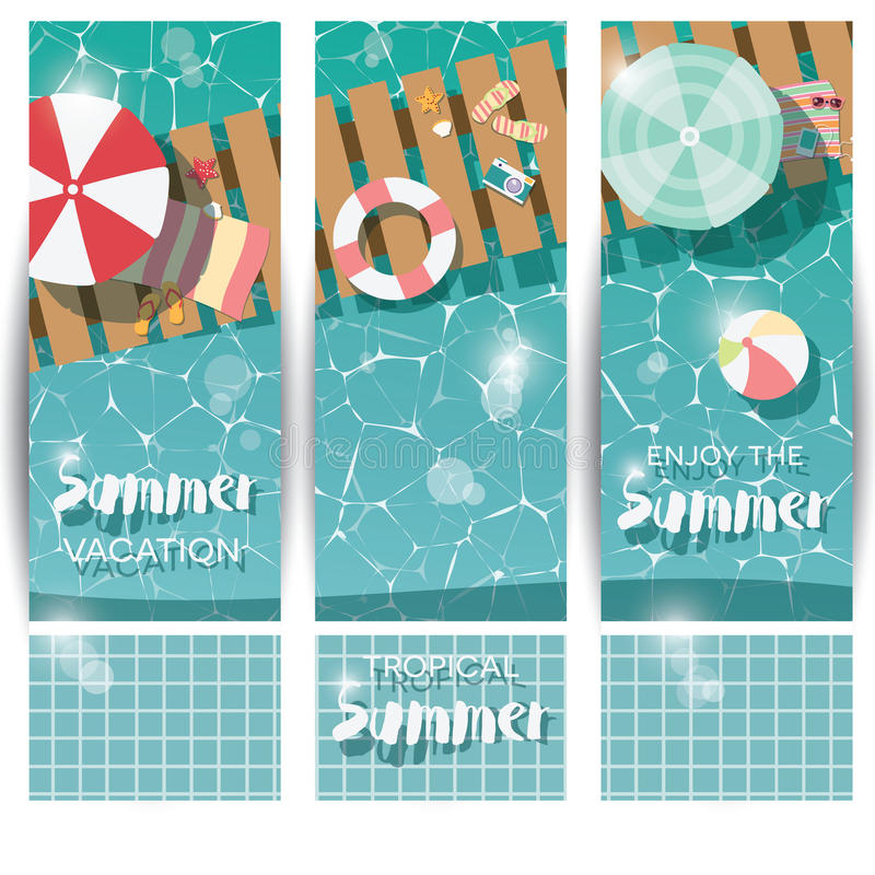 Three vertical banners with swimming pool, top view, tropical summer time holiday vacation vector illustration