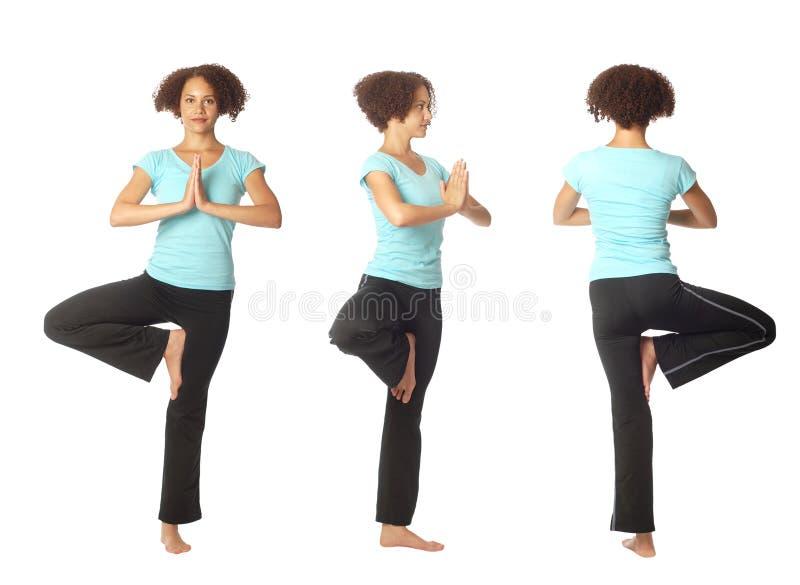 Three views of a yoga pose