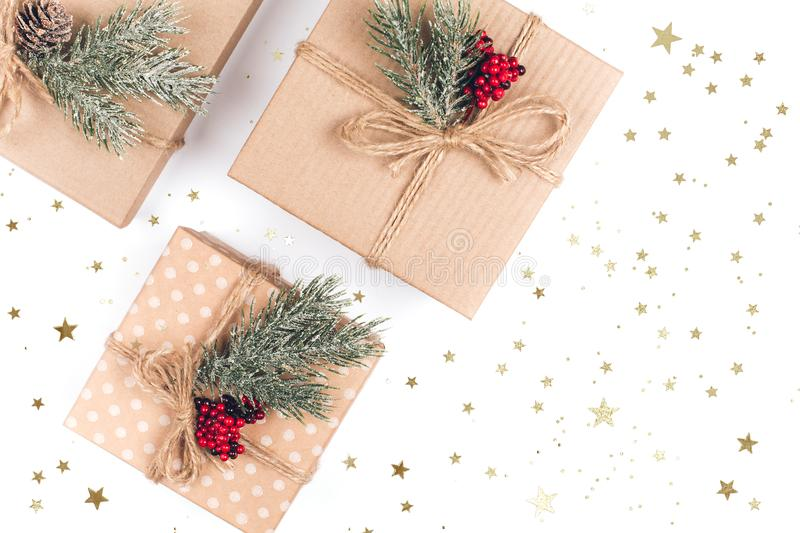 Three vintage Christmas gift boxes royalty free stock photo