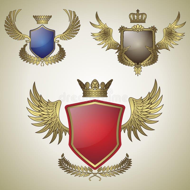 Three vintage emblem