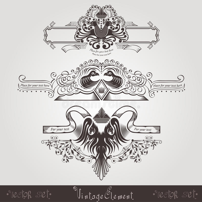 Three vintage engraving banners with different birds and pattern. S royalty free illustration