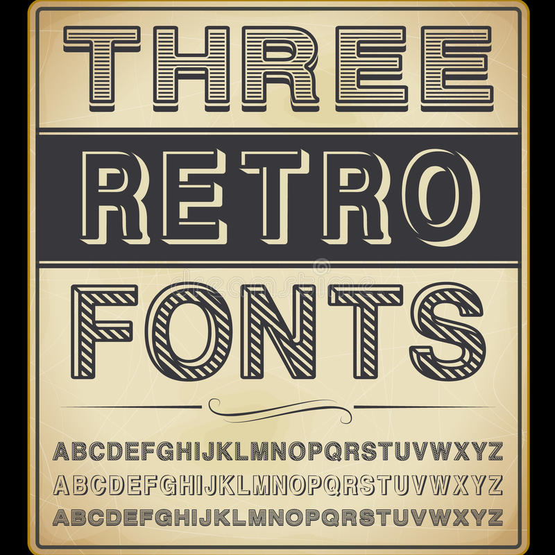Free Three Vintage Fonts Royalty Free Stock Photos - 31082648