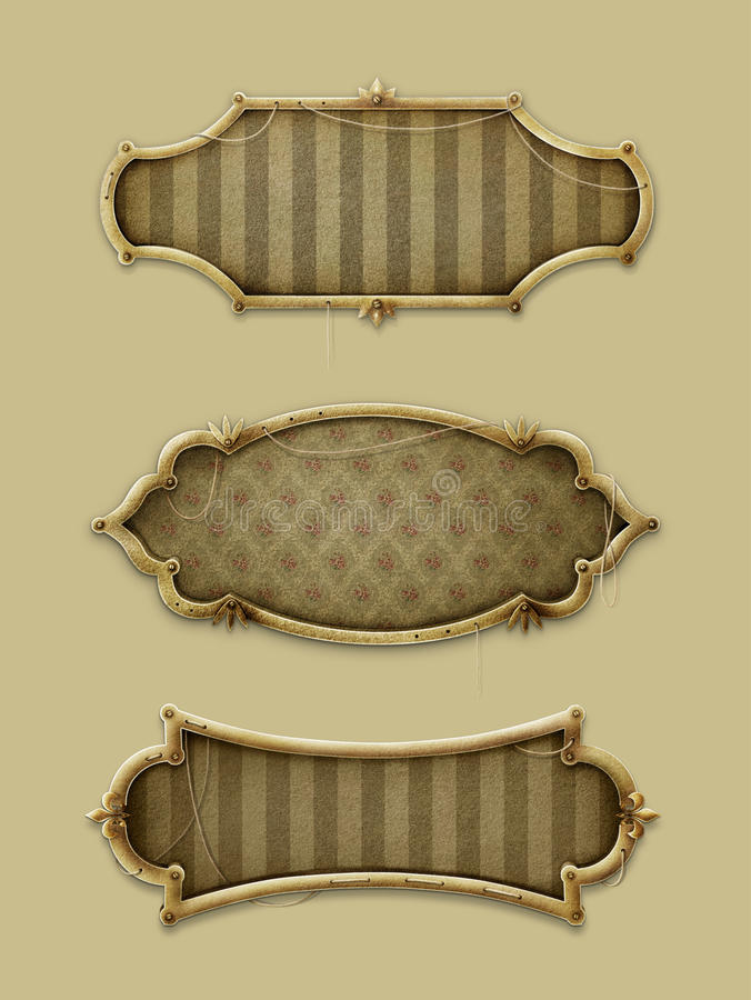 Three vintage frames. Three gold frames in vintage style. Computer Graphics