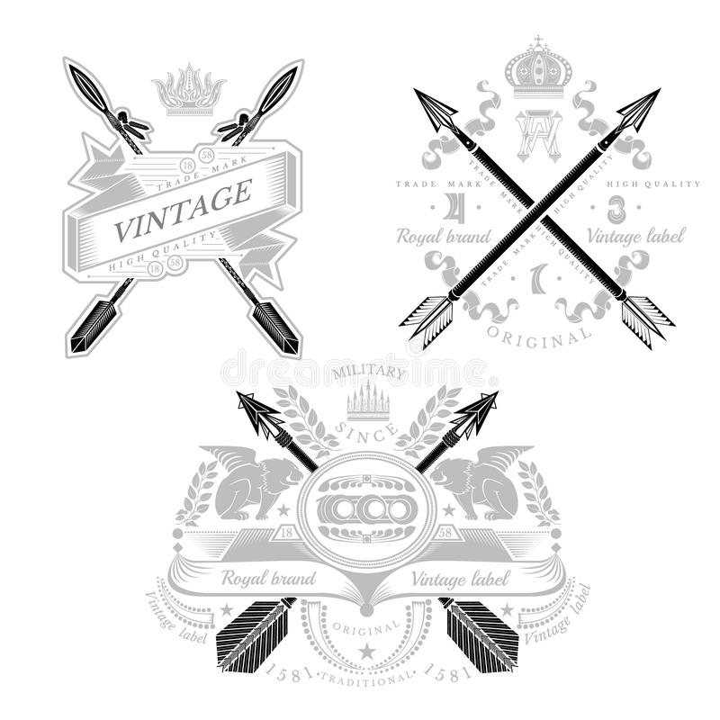 Three vintage heraldic element with cross arrows and decorative elements stock illustration