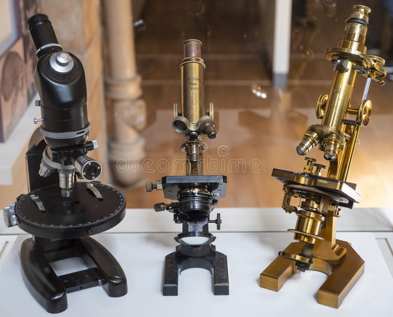 Vintage Microscopes royalty free stock images