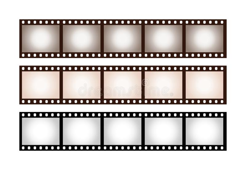 Three vintage stripes of five frames of 35 mm film royalty free illustration