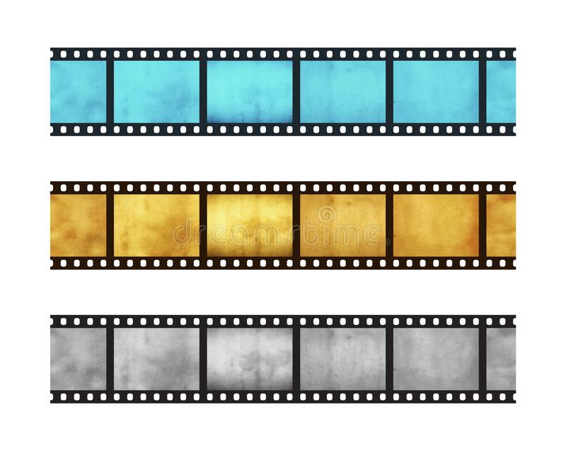 Three vintage stripes of five frames of 35 mm film stock photo