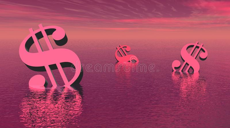 Three violet dollars drowning in the sea royalty free illustration
