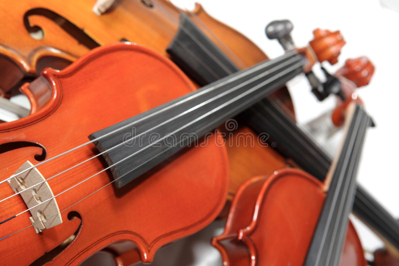Three violins. Soft focus royalty free stock photography