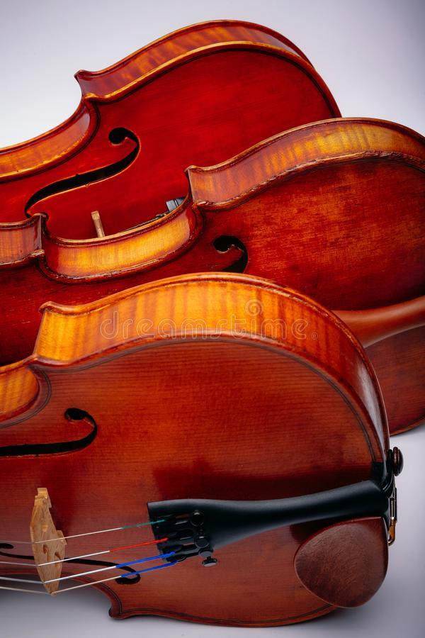 Three violins on a wihte background stock image