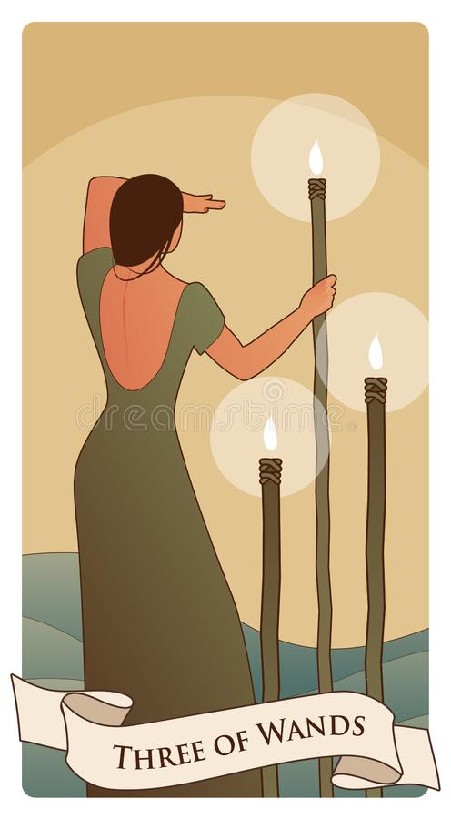 Three of wands. Tarot cards. Woman on her back, looking away, in the sea with three torches on sticks royalty free illustration