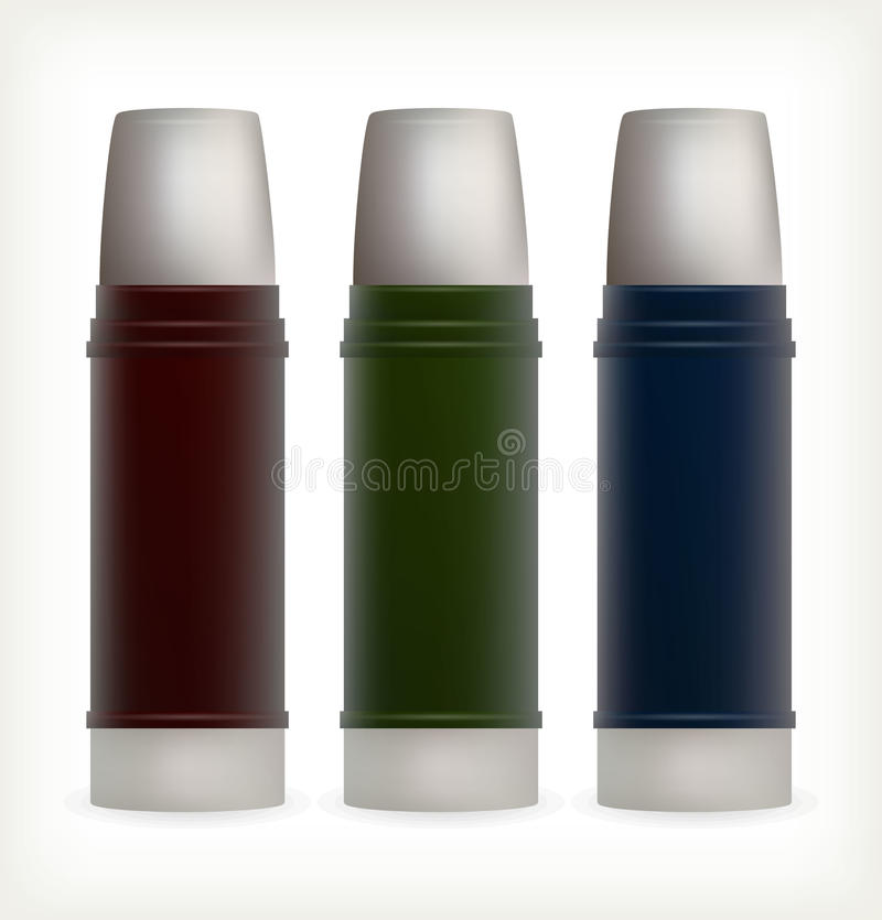 Three water bottles for outdoor activities. This is file of EPS10 format royalty free stock photo