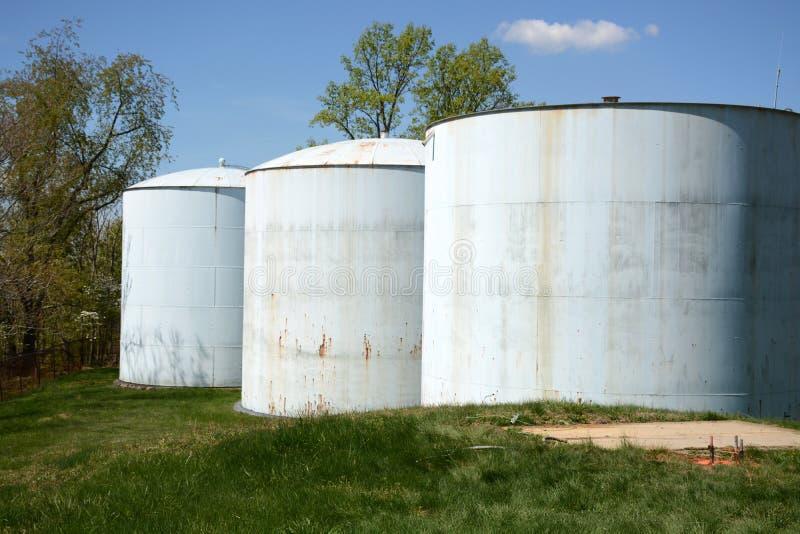 Three water tanks royalty free stock photos