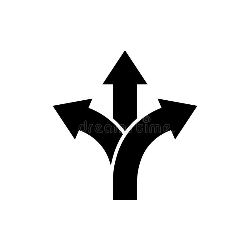 Three-way direction arrow icon Road direction sign royalty free illustration