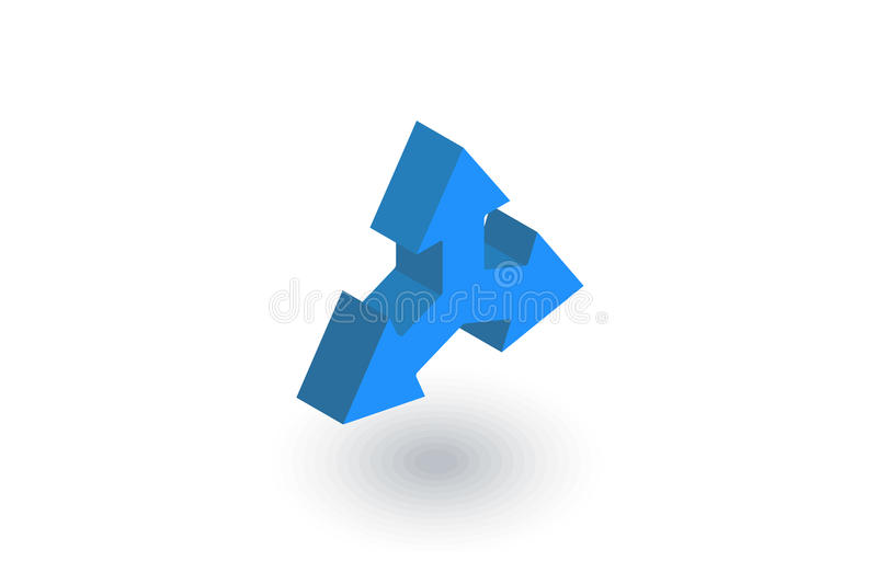 Three-way direction arrow isometric flat icon. 3d vector royalty free illustration