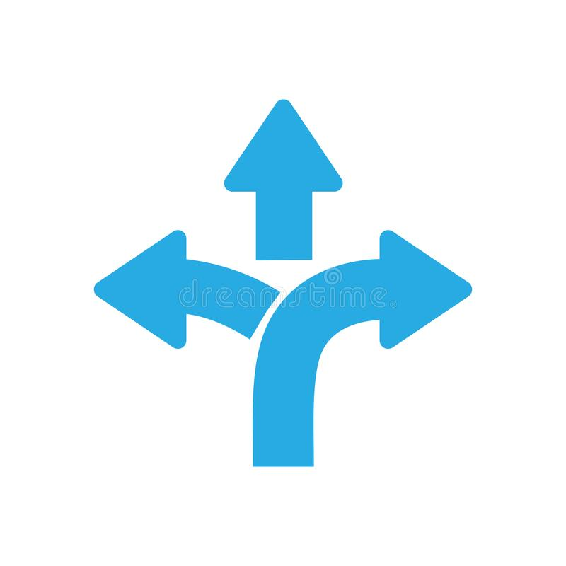 Three-way direction arrow sign, road sign direction icon royalty free illustration
