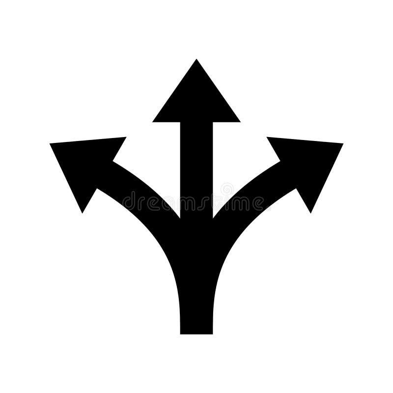 Three way direction arrow vector sign. Three way direction arrow sign. Vector icon for road marking of Y three-way or triple multiple pathway split intersection stock illustration