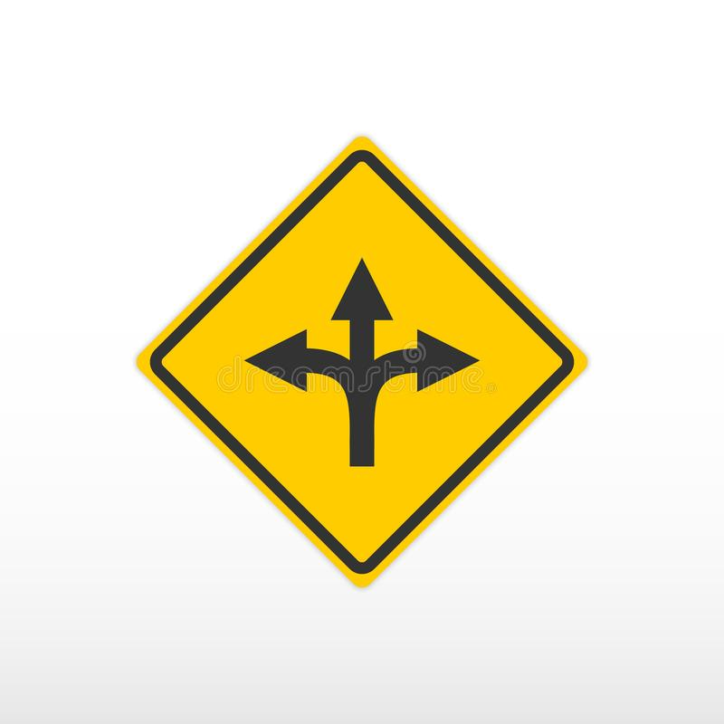 Three way fork road sign. Vector icon. Three way fork road sign stock illustration