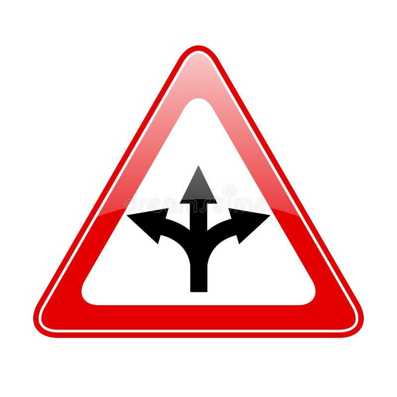 Three way fork road sign stock illustration