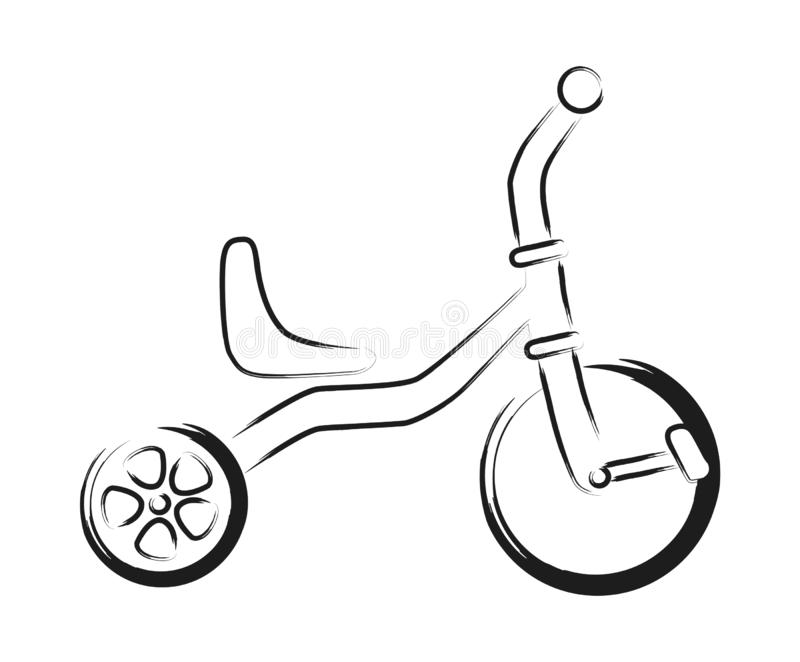 Three wheel bike hand drawing vector illustration stock photo