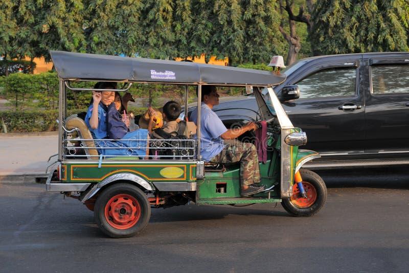 Three Wheeled Tuk Tuk Taxi in Bangkok royalty free stock image