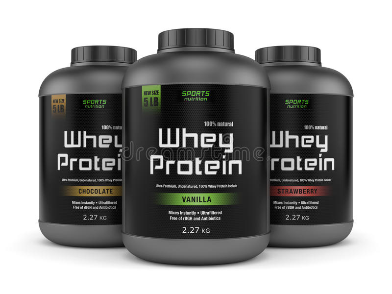 Three whey protein jars isolated on white royalty free illustration
