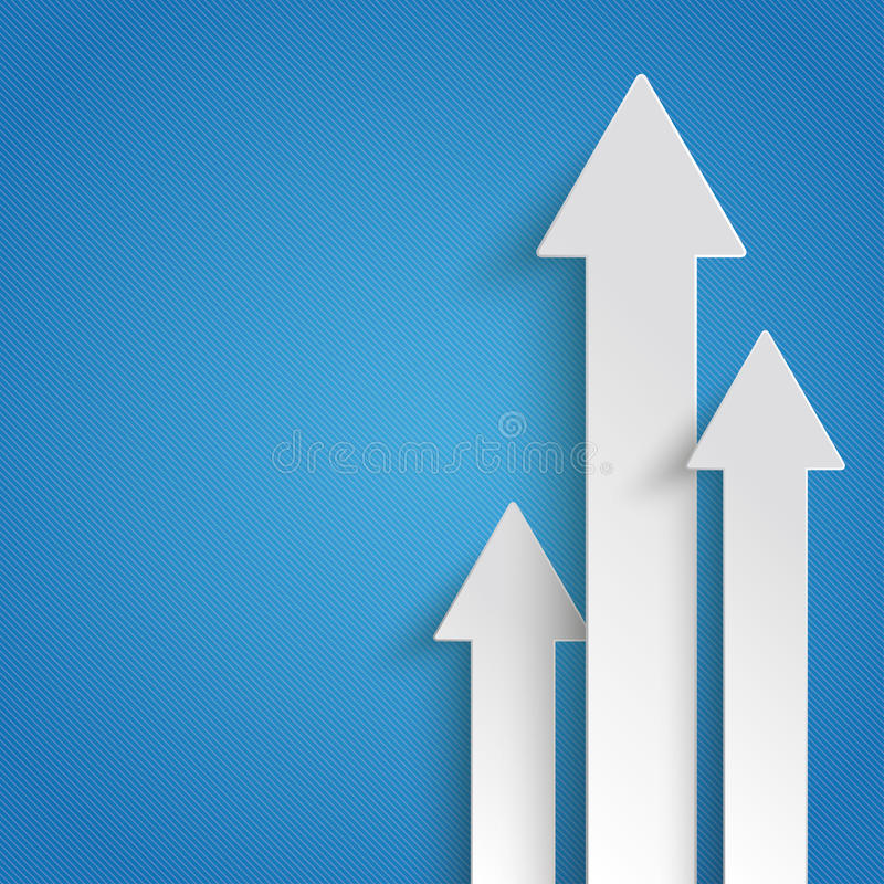 Three White Arrows Growth Blue Background vector illustration