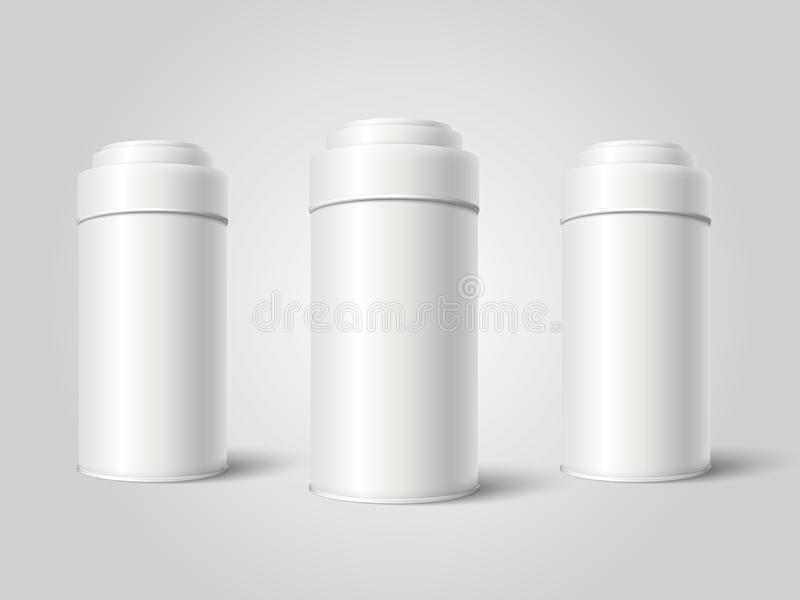 Three White Blank Tin can packaging mockup vector illustration