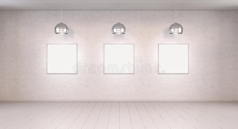 Three white blanks canvas on a wall 3D rendering stock illustration